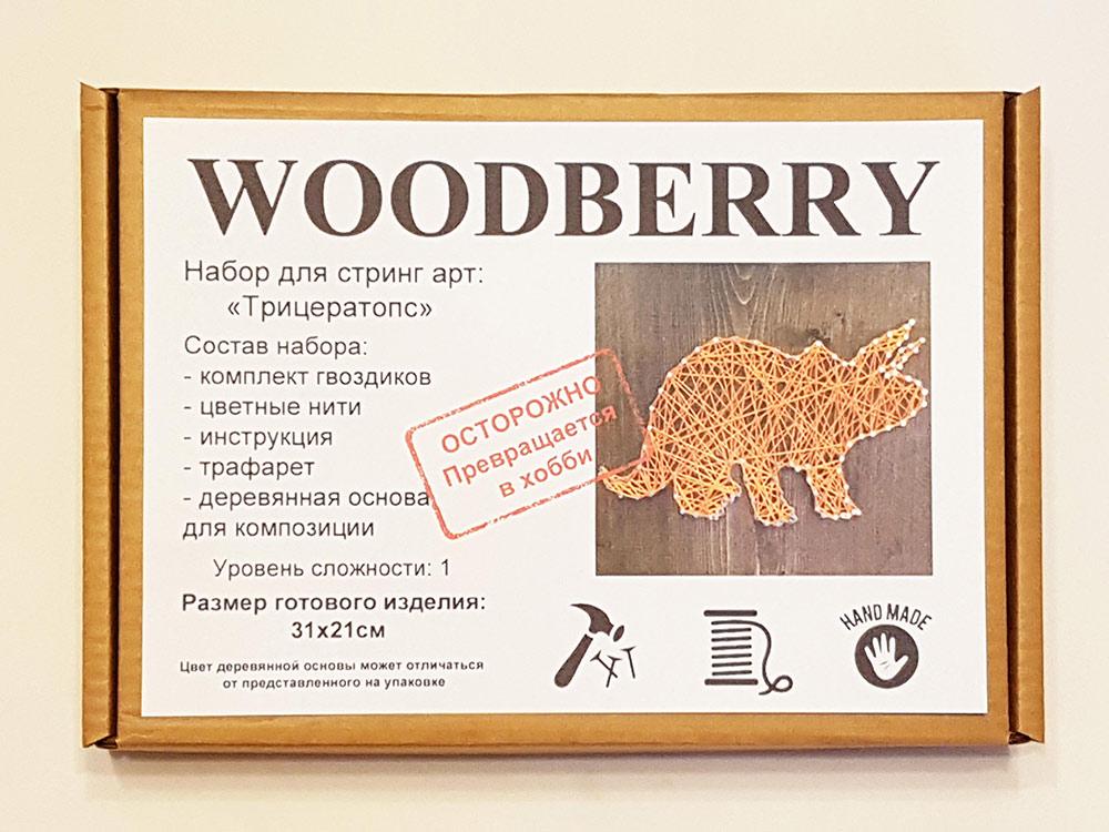 Набор для творчества STRING ART «Трицератопс», Woodberry  - купить со скидкой