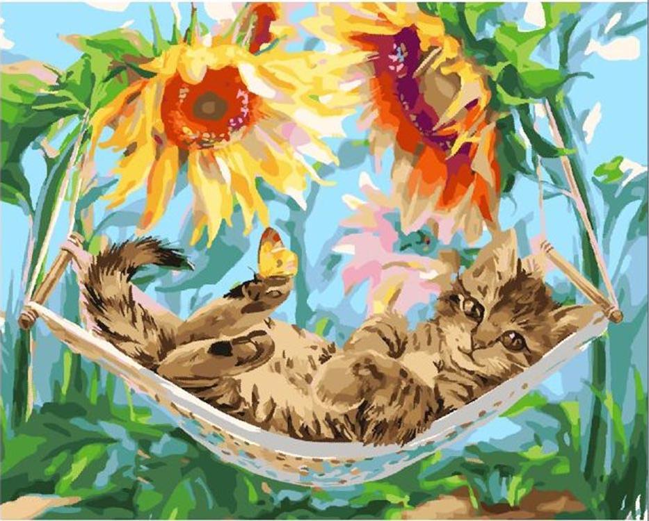 Картина по номерам «Котенок в гамаке» Лорри Кайенна
