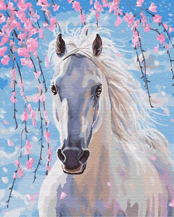 Купить Картина по номерам «Белогривая лошадка», Цветной (Standart), Китай