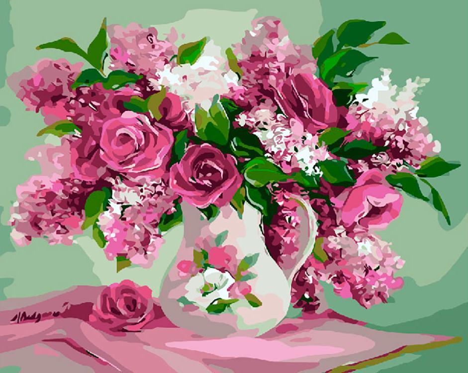 Картина по номерам «Сирень и розы» Анки Булгару, «Сирень и розы»