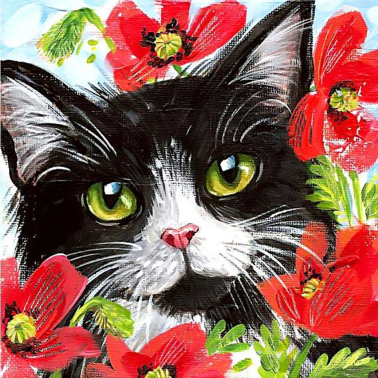 Купить Алмазная вышивка «Кот в цветах», Гранни