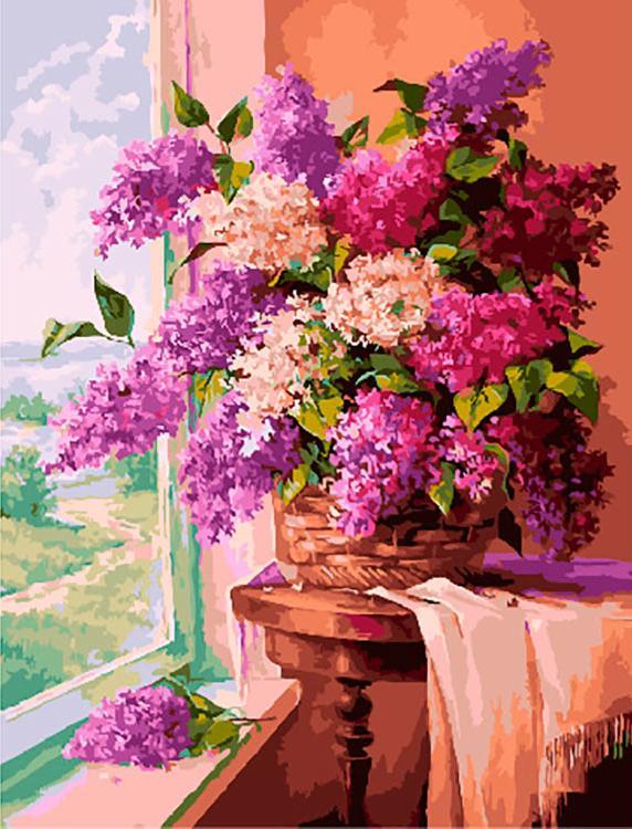Купить Картина по номерам «Утренняя сирень» Марии Гордеевой, Paintboy (Premium), Китай