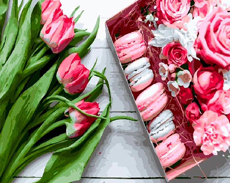 Купить Картина по номерам «Букет из тюльпанов», Paintboy (Premium), Китай