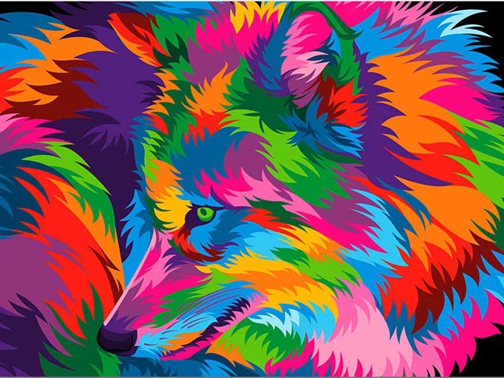 Картина по номерам «Радужный волк» Ваю Ромдони, Paintboy (Premium), Китай  - купить со скидкой