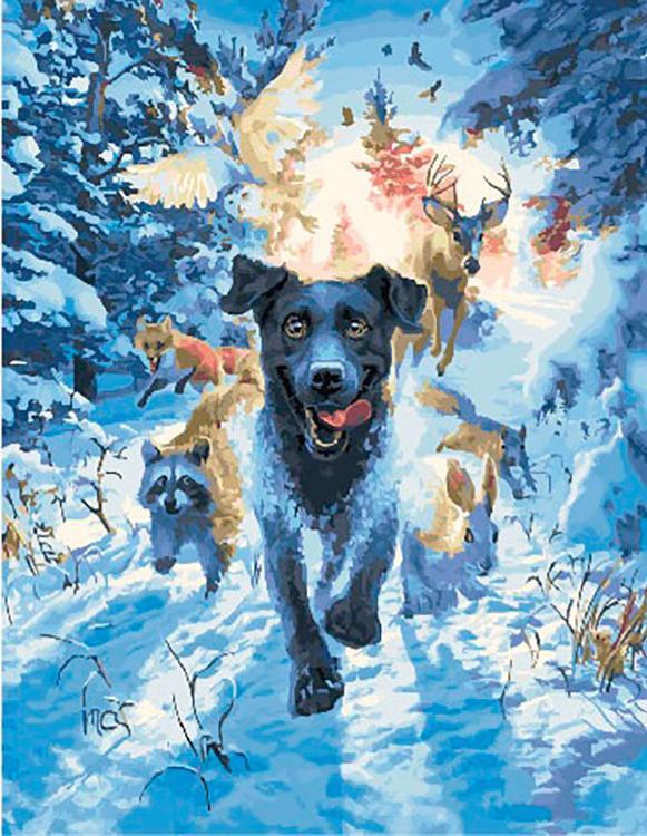 Картина по номерам «Погоня в лесу» Марка Фредриксона