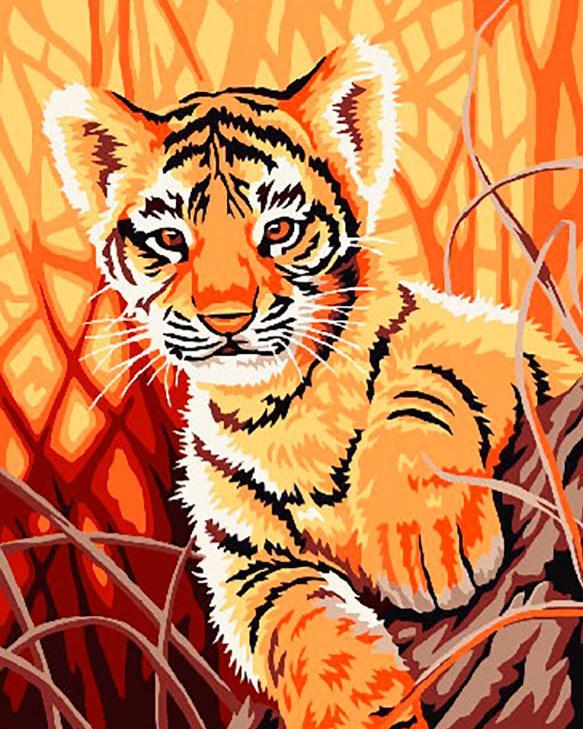 Картина по номерам «Тигренок в джунглях»