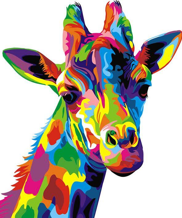 Картина по номерам «Радужный жираф», «Радужный жираф»