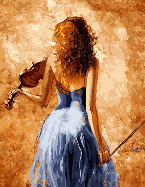 Картина по номерам «Девушка со скрипкой» Лены Сотсковой
