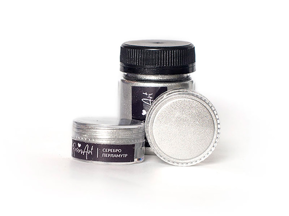 Купить Перламутровый пигмент для смолы - серебро 10 мл, ResinArt