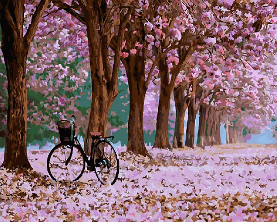 Купить Картина по номерам «Велосипед в парке», ВанГогВоМне