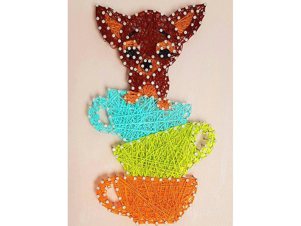Купить Набор для творчества STRING ART «Собачка с чашками», Woodberry