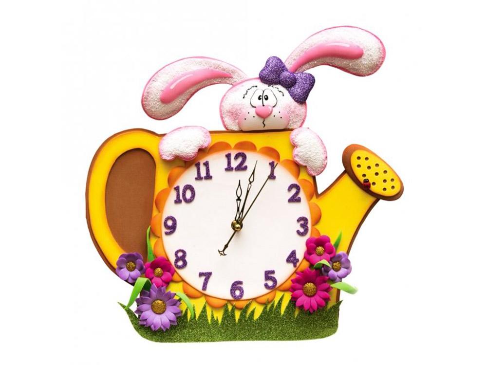 Часы из фоамирана «Зайка в лейке»