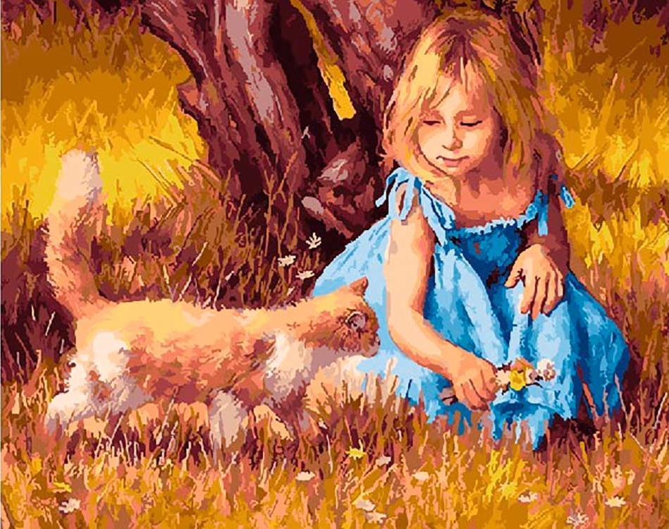 Картина по номерам «Игра девочки с котом» Джима Дэли
