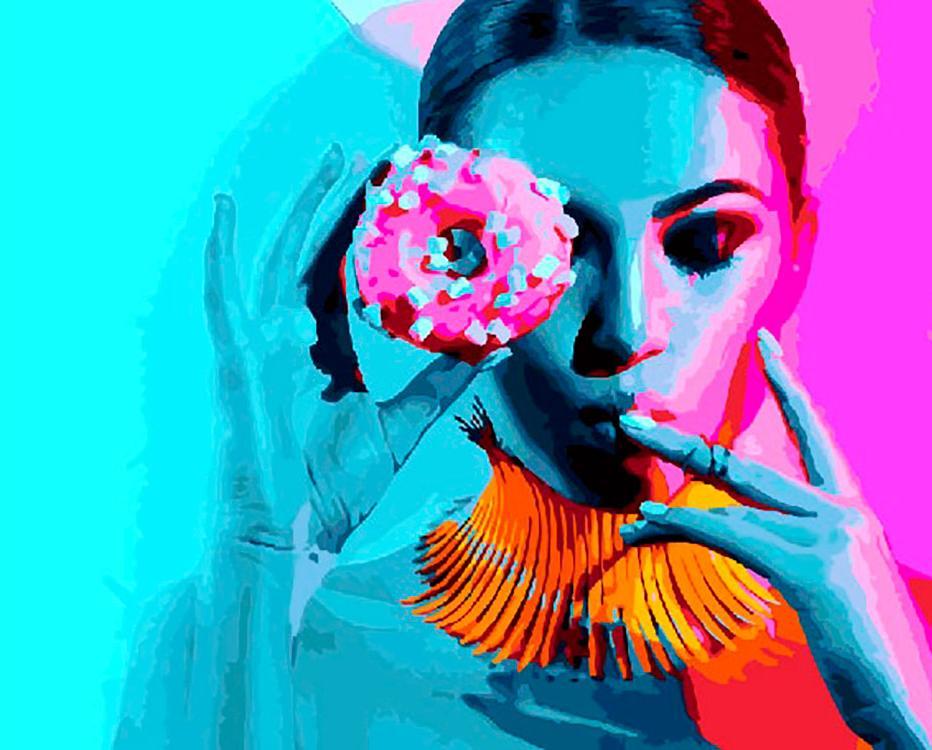 Картина по номерам «Дама и пончик»