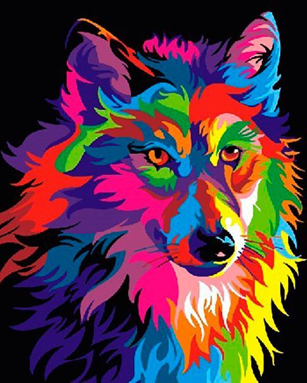 Картина по номерам «Разноцветный волк» Ваю Ромдони