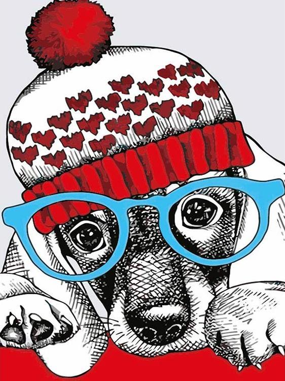 Картина по номерам «Модный пес»