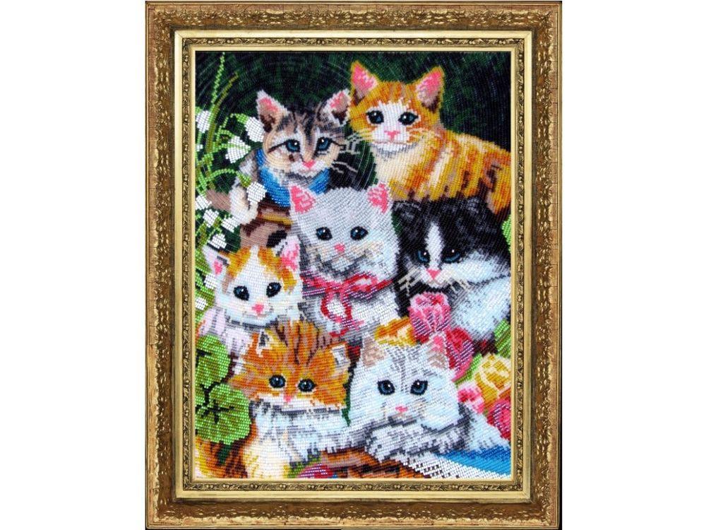 Набор для вышивания бисером «Семеро котят» фото