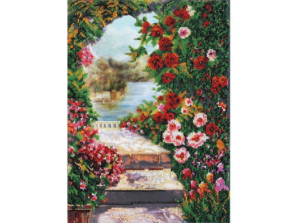 Купить Вышивка бисером, Набор вышивки бисером «Летний сад», Абрис Арт, 26x35 см, AB-482