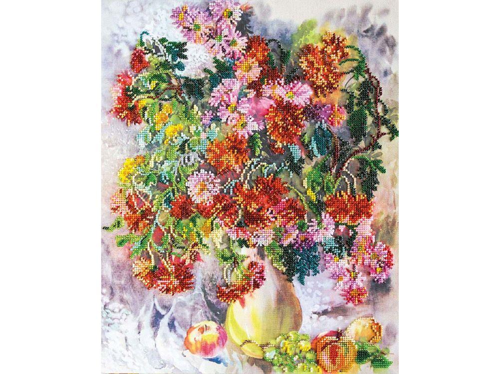 Купить Вышивка бисером, Набор вышивки бисером «Хризантемы», Абрис Арт, 31x38 см, AB-490