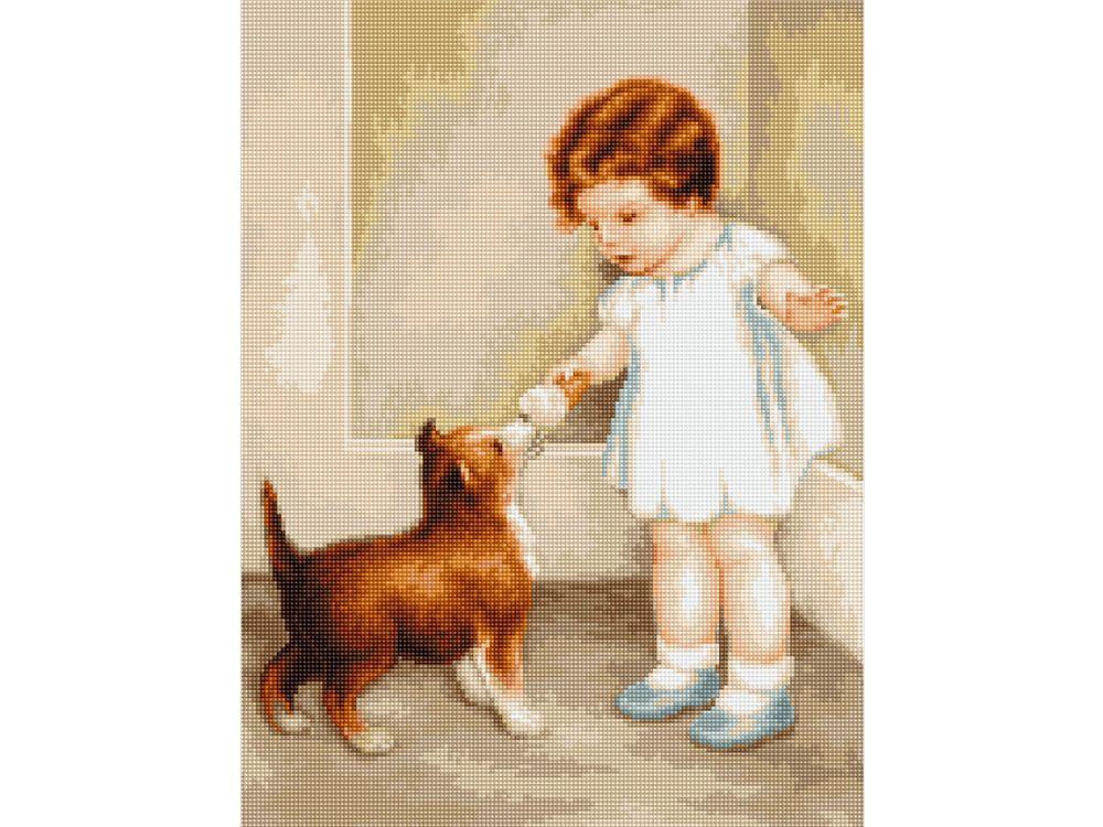 Набор для вышивания «Девочка с собакой» фото