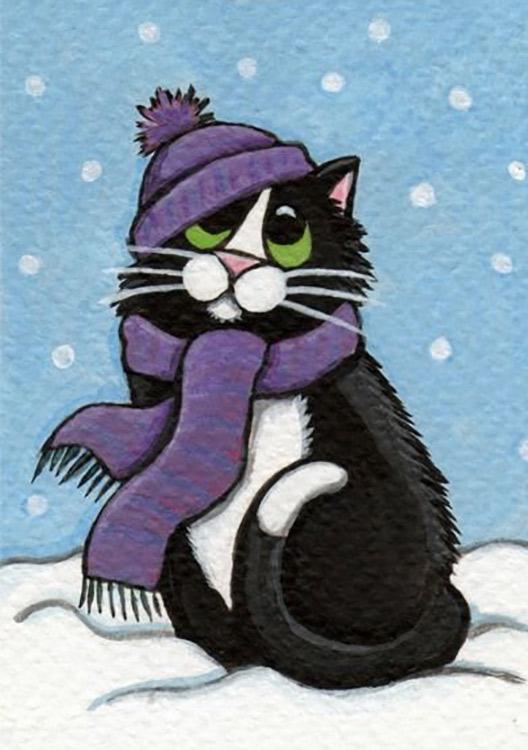 Купить Алмазная вышивка «Зимний кот», Гранни, 19x27 см, Ag2349