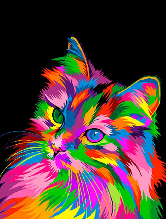 Купить Картина по номерам «Радужный котенок», Paintboy (Premium), Китай, GX30283
