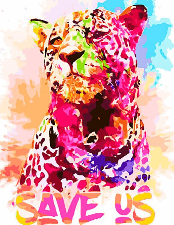 Купить Картина по номерам «Радужный гепард», Paintboy (Premium), Китай, GX30733