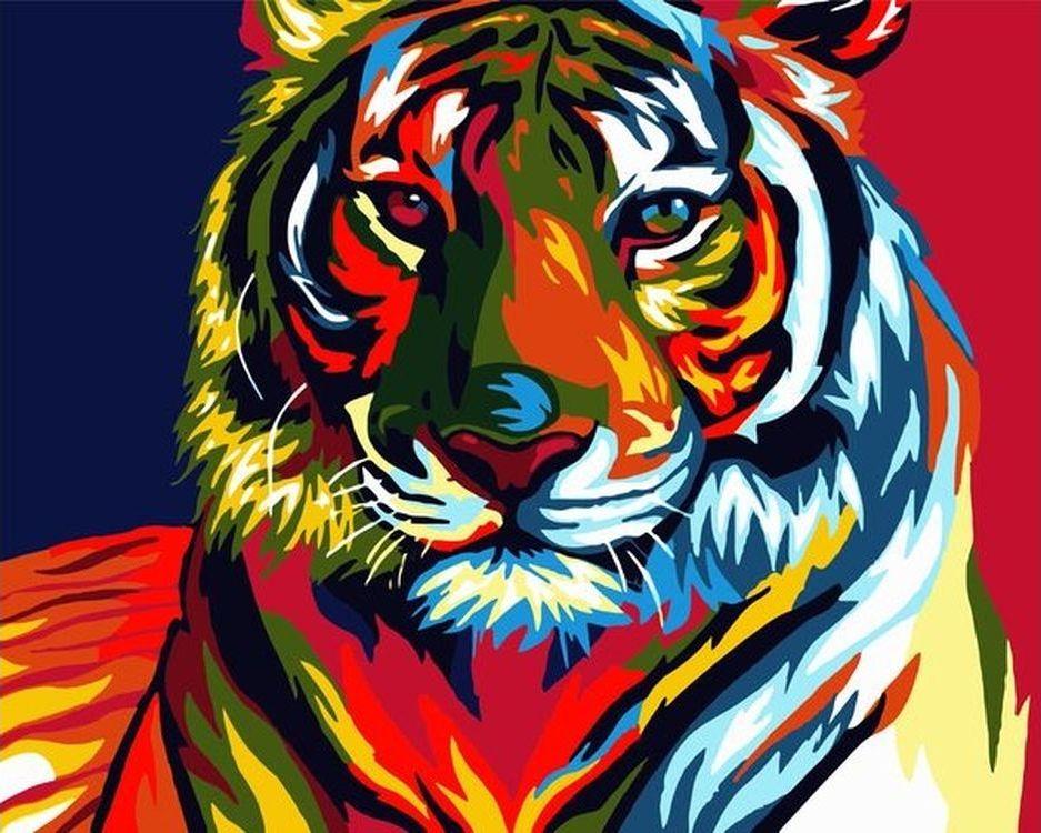 Купить Картина по номерам «Радужный тигр», Paintboy (Premium), VA-0146