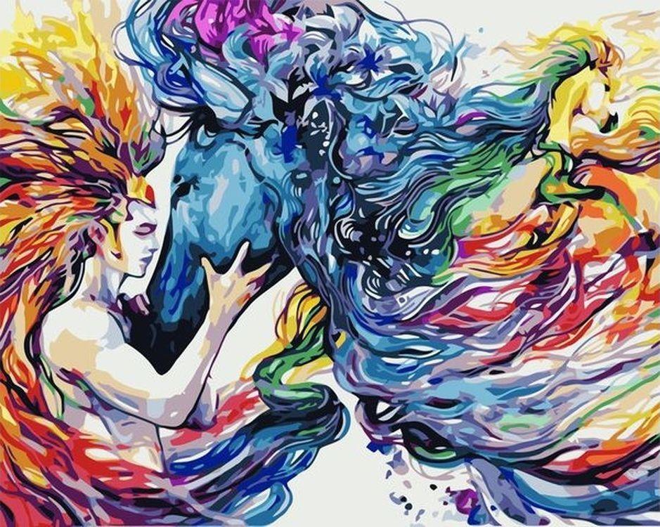 Купить Картина по номерам «Радужный скакун», Paintboy (Premium), VA-0636