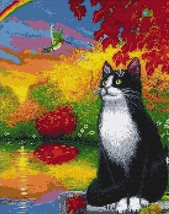 Алмазная вышивка «Кот и колибри» фото