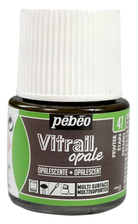 Краска для стекла и металла лаковая полупрозрачная Vitrail opale, Олово фото