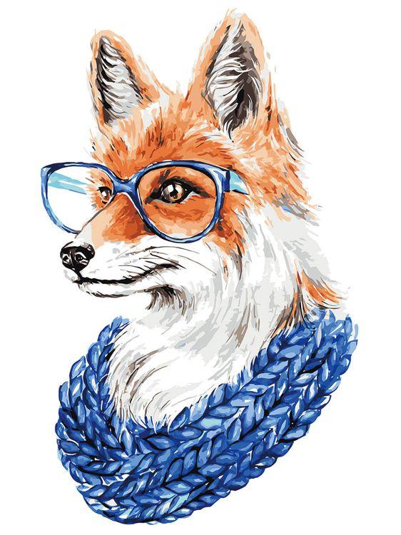 Картина по номерам «Лиса в очках» Цветной (Premium)