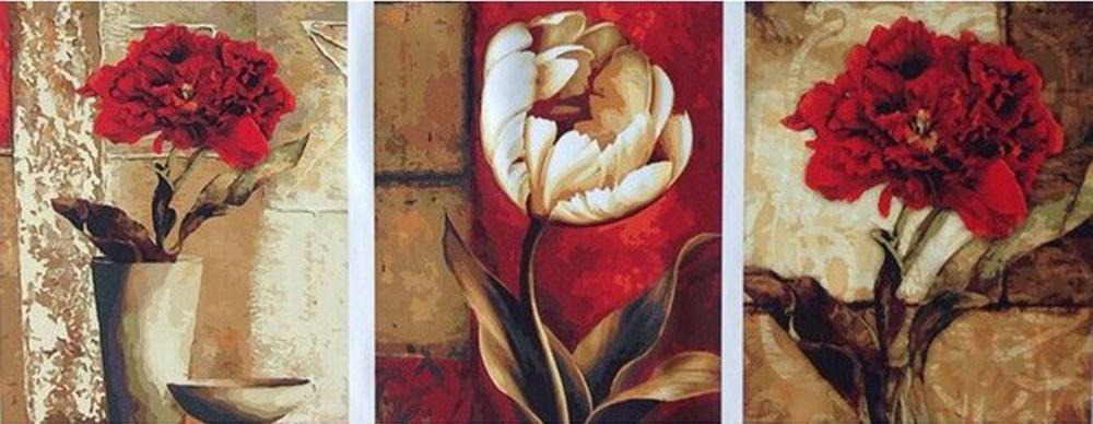 Купить Картина по номерам «Красное и белое», Цветной (Standart), Китай, 3 шт. 40x50 см, P085_Z