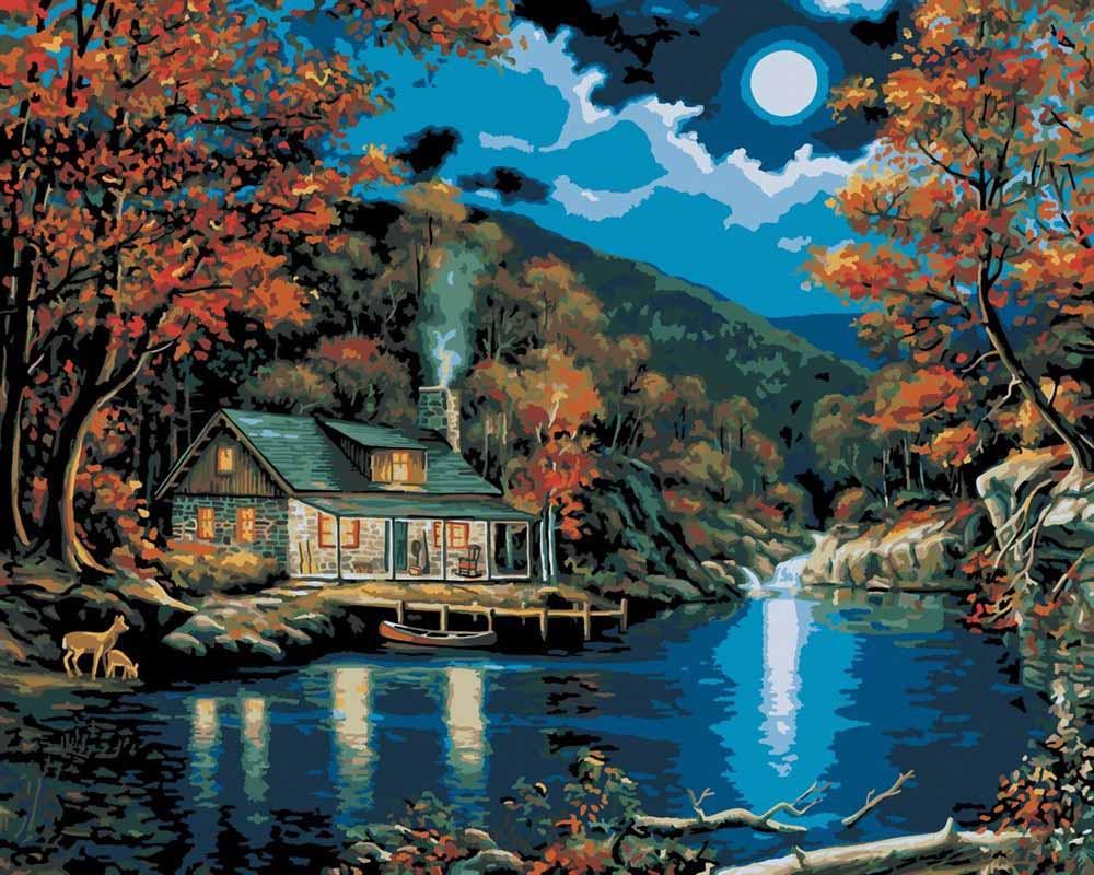 Картина по номерам «Домик на берегу озера» 21690 PLAID ...