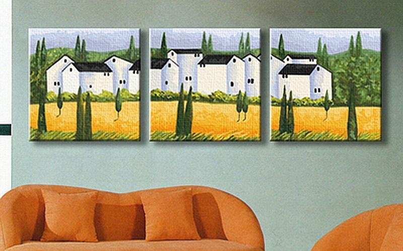 Купить Картина по номерам «Городок в Провансе», Hobbart, Россия, 3 шт. 40x40 см, PH340120009-Lite