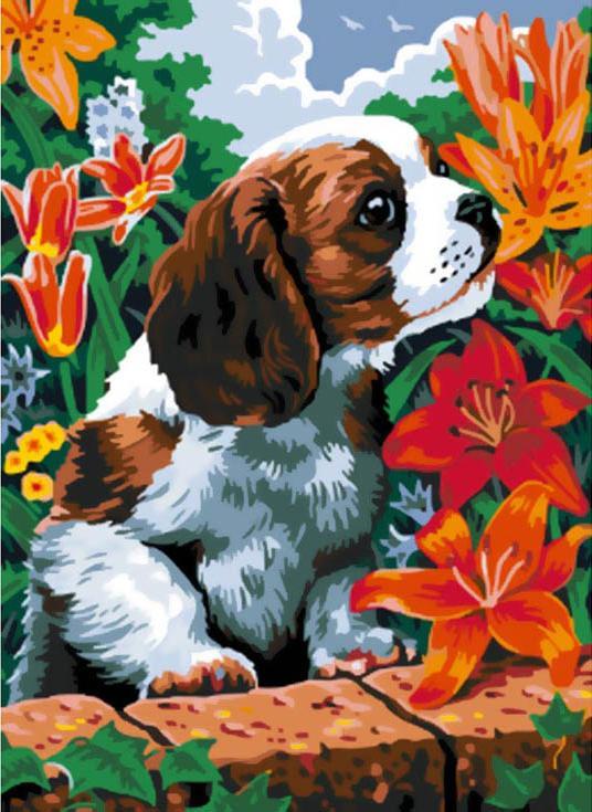 Купить Картина по номерам «Щенок и лилии», Белоснежка, Россия, 003-CE