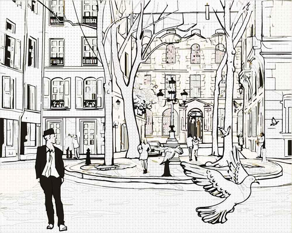 черно белый рисунок пейзаж города когда наступит лето