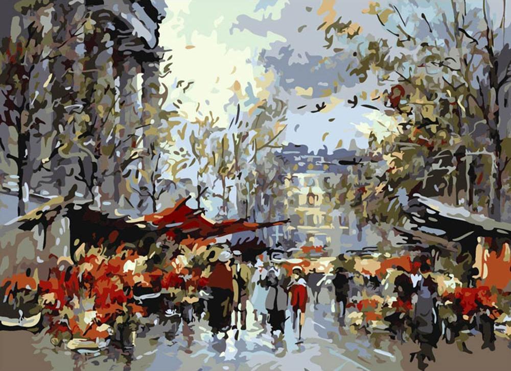 Картина по номерам «Цветочный рынок, Мадлен»