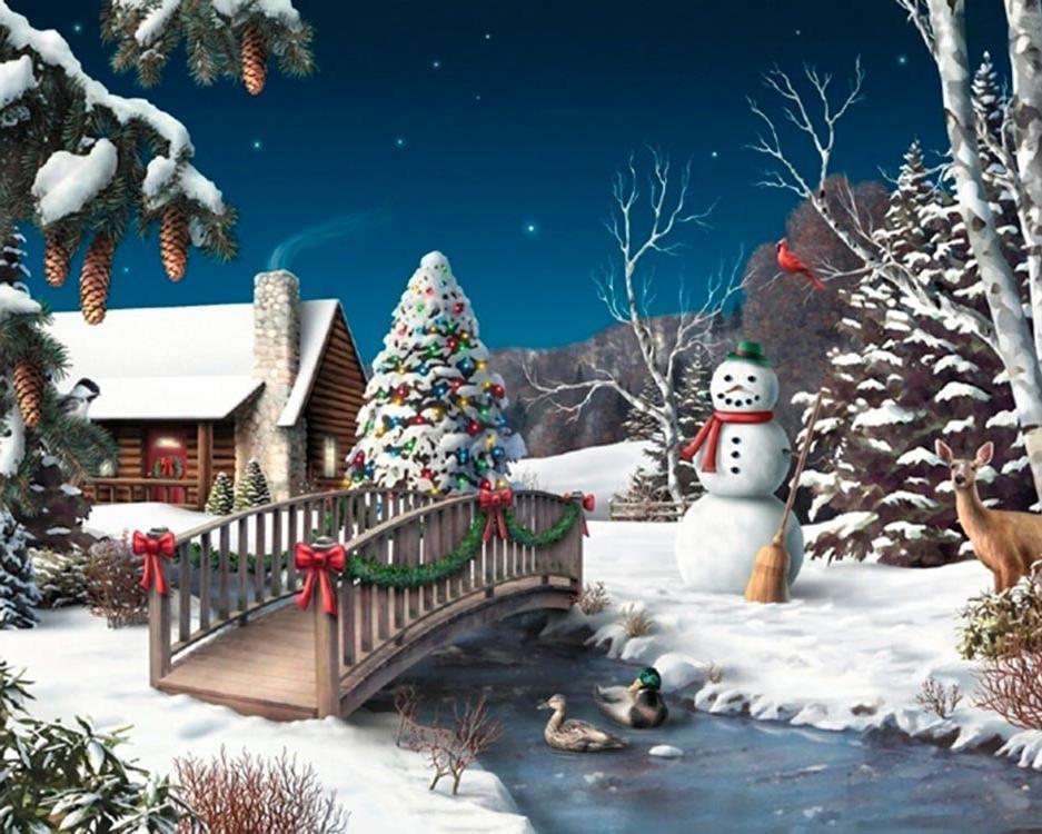 Времена года, открытка на зимнюю