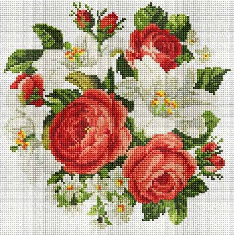 Купить Алмазная вышивка «Розы и лилии», Белоснежка, Россия, 30x30 см, 329-ST-S