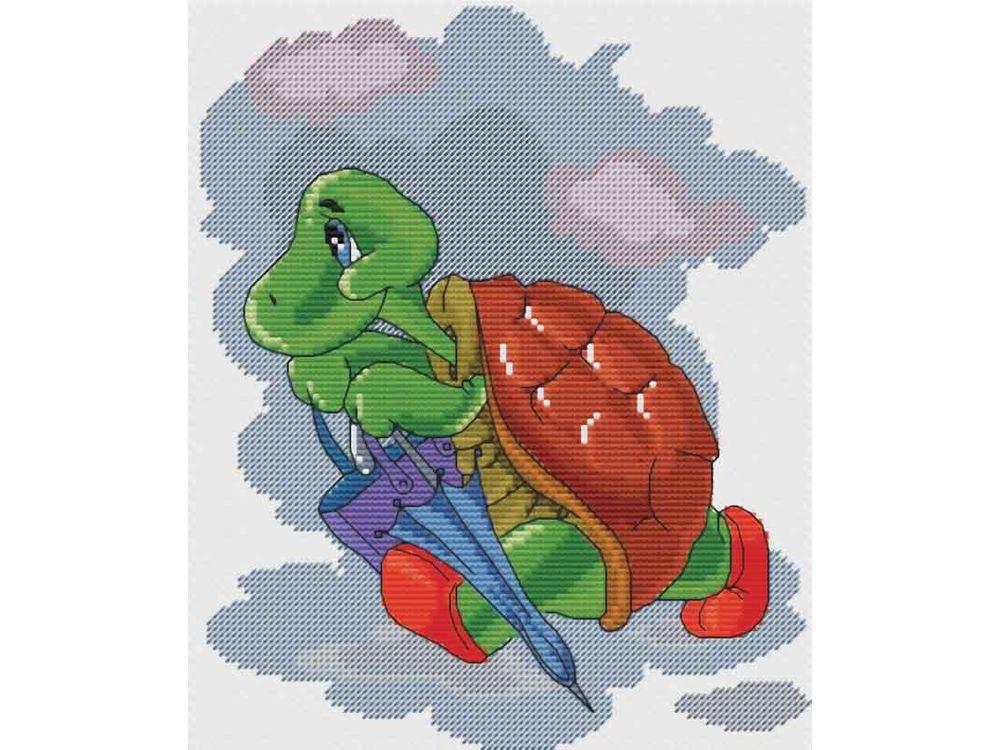 Купить Вышивка крестом, Набор для вышивания «Черепаха с зонтиком», Белоснежка, Россия, 24x28 см, 123-14