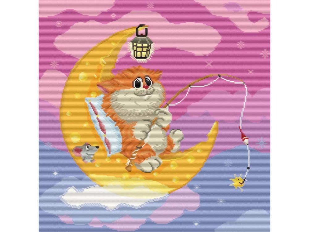 Купить Вышивка крестом, Набор для вышивания «Котик на Луне», Белоснежка, Россия, 42x42 см, 143-14