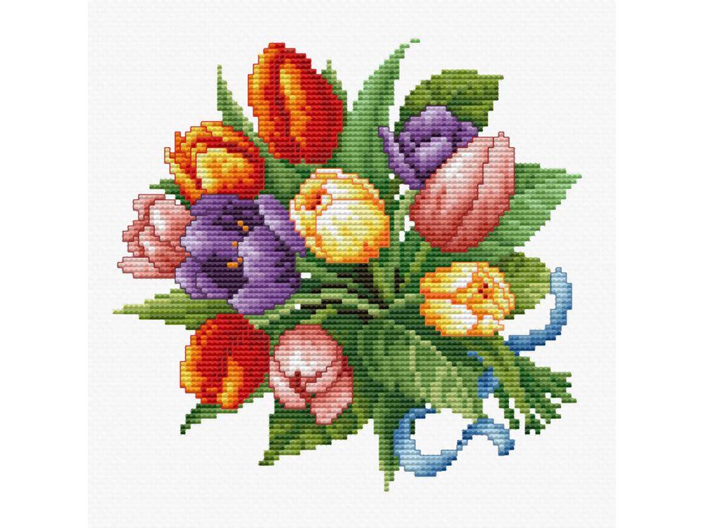 Купить Вышивка крестом, Набор для вышивания «Тюльпаны», Белоснежка, Россия, 35x35 см, 6013-14