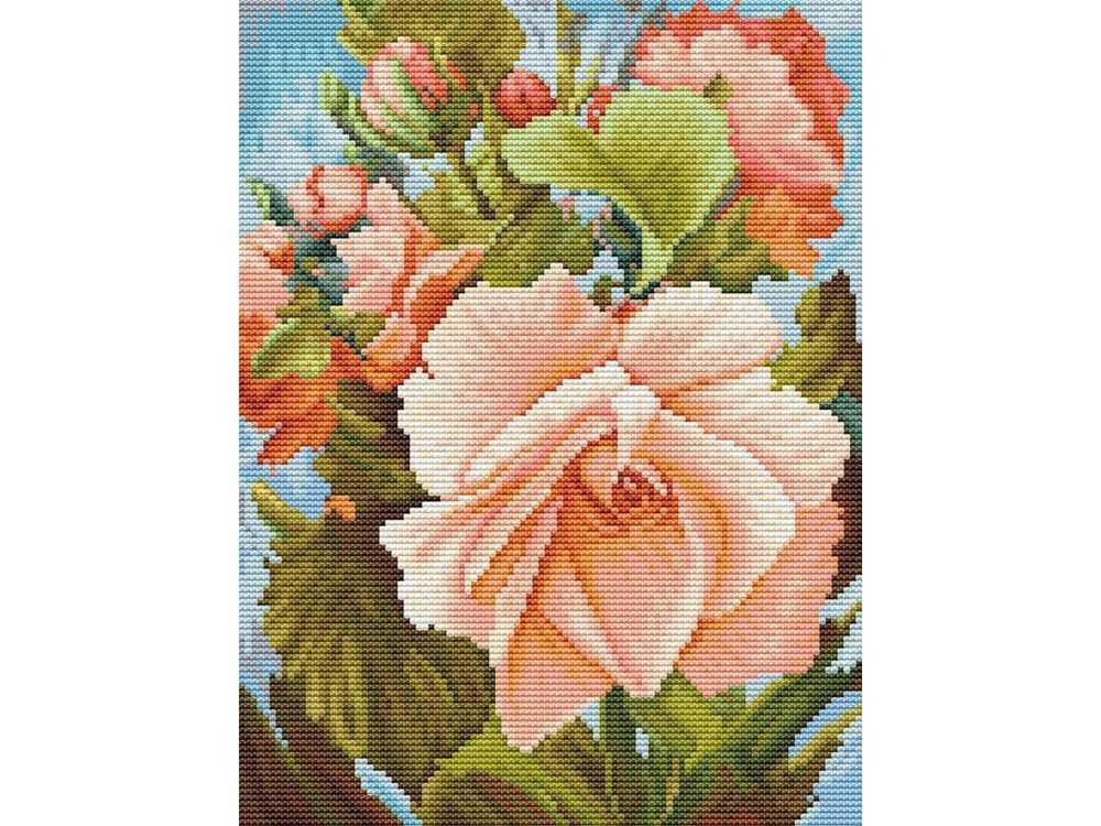 Купить Вышивка крестом, Набор для вышивания «Роза», Белоснежка, Россия, 25x31 см, 6019-14