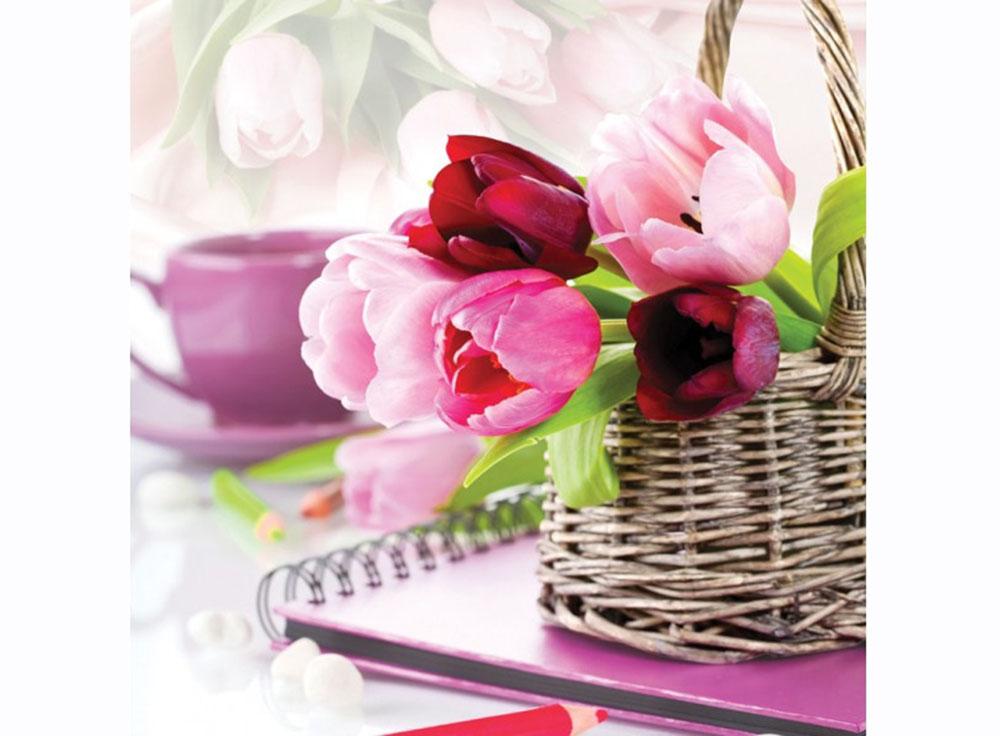 Купить Вышивка крестом, Набор для вышивания «Тюльпаны в корзине», Белоснежка, Россия, 50x50 см, 7030-3D
