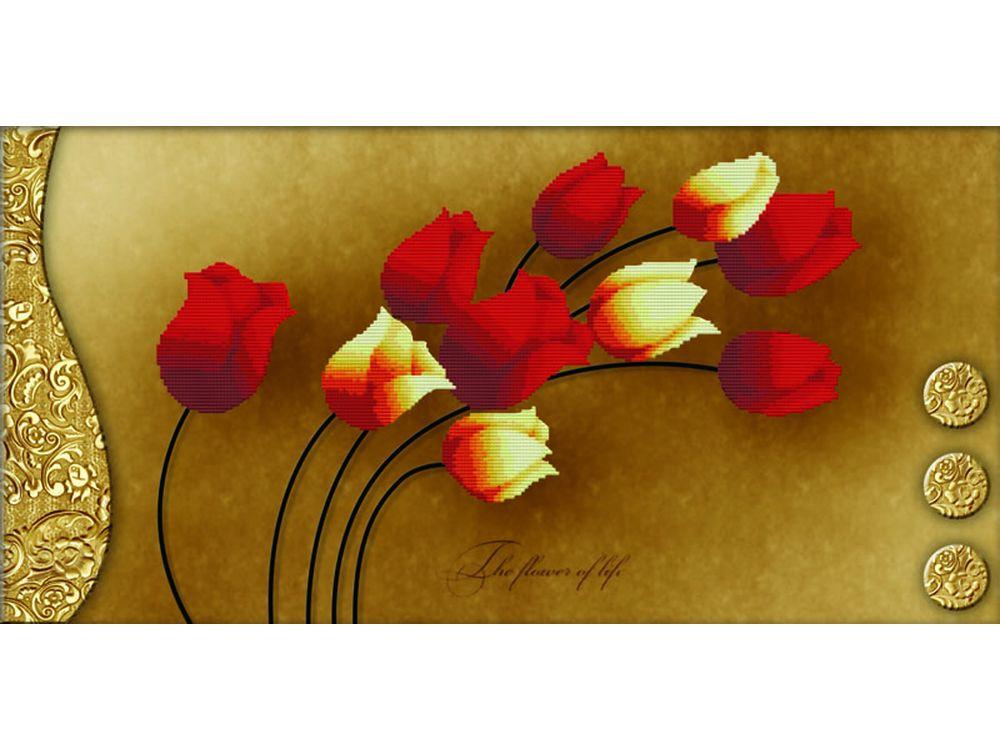 Купить Вышивка крестом, Набор для вышивания «Тюльпаны на золотом», Белоснежка, Россия, 69x38 см, 7042-3D