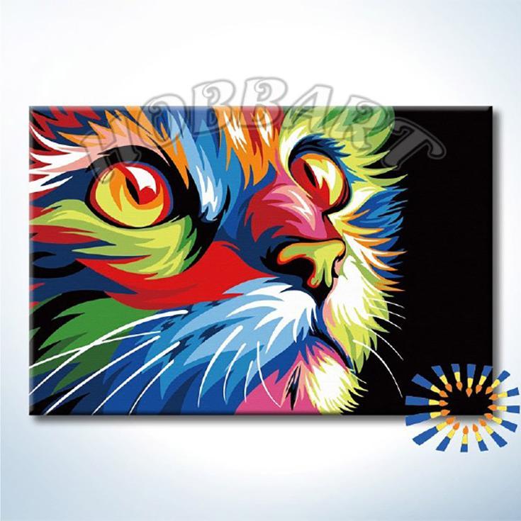 Купить Картина по номерам «Ваю Ромдони. Радужный кот», Hobbart, Россия, DZ2030004-Lite
