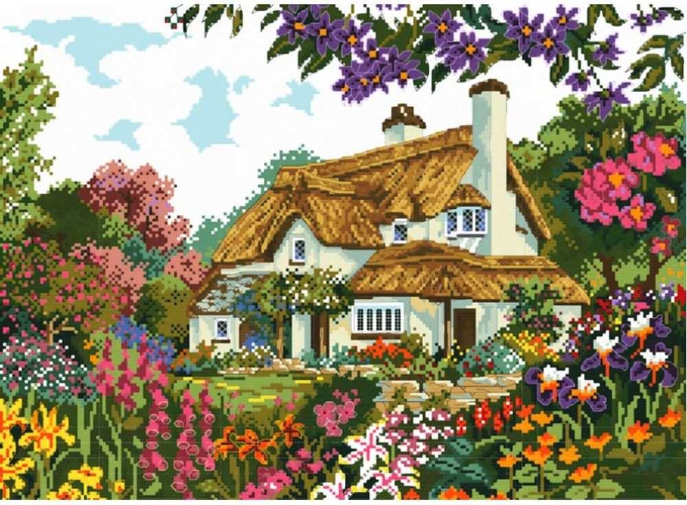Купить Вышивка крестом, Набор для вышивания «Цветы у дома», Белоснежка, 39x50 см, В-2284