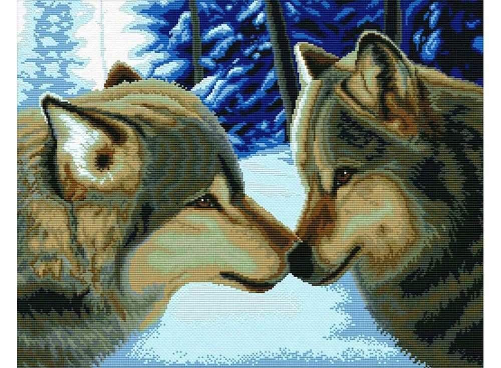 Купить Вышивка крестом, Набор для вышивания «Два волка», Белоснежка, 45x55 см, В-2862