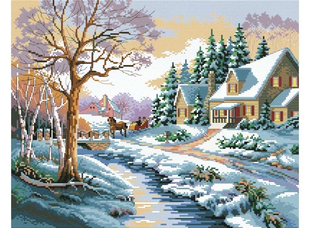 Купить Вышивка крестом, Набор для вышивания «Зимняя улица», Белоснежка, 37x44 см, B-1013
